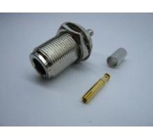 ВЧ разъем N-типа female обжим для кабеля RG 58 на корпус гайка