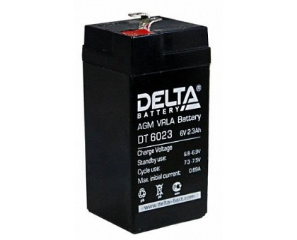Аккумулятор 6В 2,3 А/ч Delta DT 6023