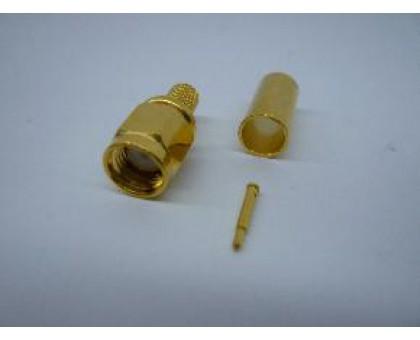 разъем SMA male обжимной RG 58 Gold