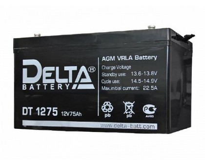Аккумулятор 12В 75 А/ч Delta DT 1275