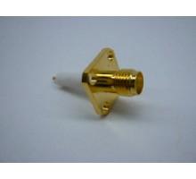 разъем SMA female на корпус фланец 4 отверстия с изолятором Gold